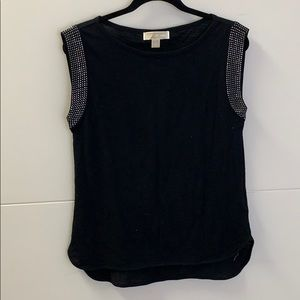 Michael Kors Black Sleeveless Top with Gem Detail